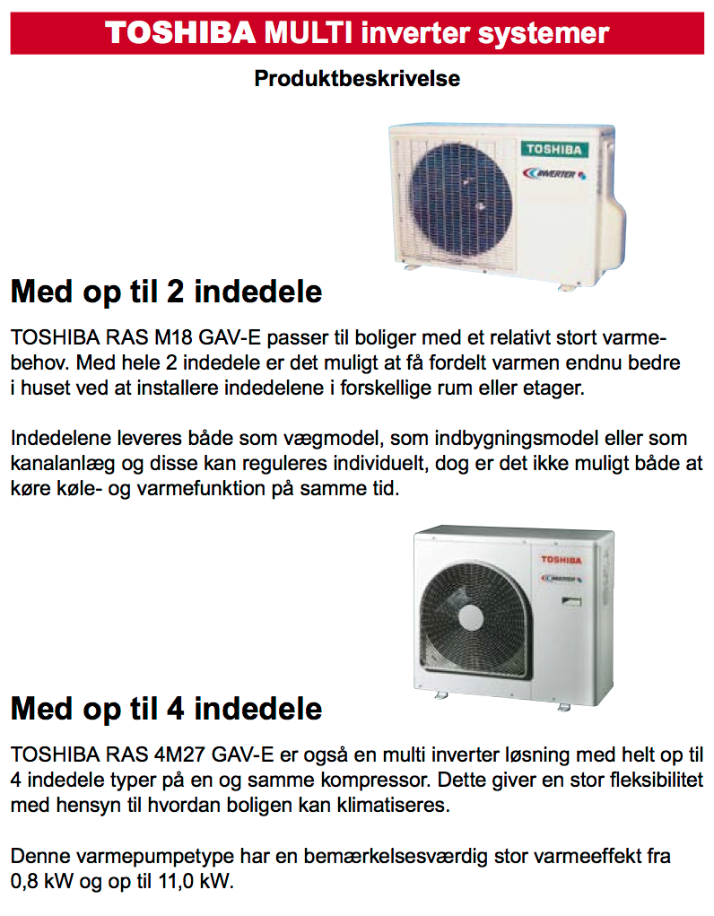 Toshiba multiInverter produktbeskrivelse